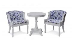 Луис кресло, кофейный столик(белый)