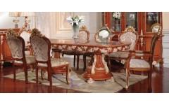 Большой обеденный стол в цвете орех с золотом Матильда, Аванти