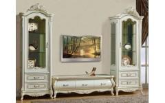 Витрины однодверные с тв тумбой (стенка) в белый мебельный гарнитур Ирма, Аванти