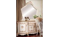 Белый расписной буфет с зеркалом в столовую Лайма, Аванти