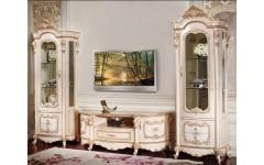 Кремовая витрина и ТВ тумба с росписью Лайма, Аванти