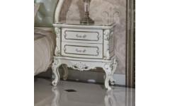 Белая прикроватная тумбочка с позолотой для спальни Ирма, Аванти