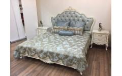 Белая классическая кровать 1800 Ирма в стиле барокко, Аванти