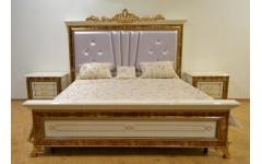 Кровать 1800 с прямым изголовьем и золотой патиной Луи TY-801