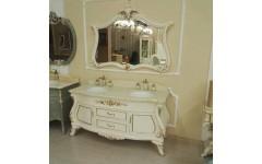 Белая тумба в ванну с зеркалом в стиле барокко 1269, Энигма