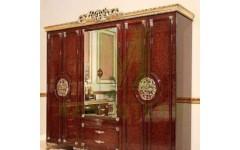 Шестидверный полированный шкаф с резными золотыми Эрмитаж
