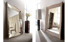 Напольное зеркало из кожи и натурального дерева LIFETIME