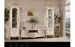 ТВ тумба с витринами в белом цвете Прованс, Инстайл