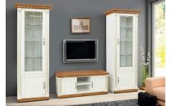 Белые однодверные витрины с ТВ тумбой в гостиную Фридом, Микс мебель