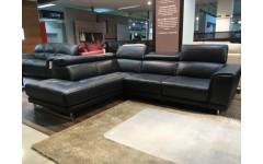 Угловой кожаный черный диван U 144 , Софтали