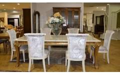 Обеденный стол белый с золотом Луи 801, Китай