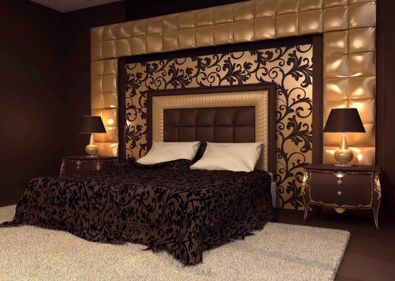 Декоративные стеновые панели над кроватью