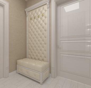 В прихожей часто используют мягкие стеновые панели как декор стен