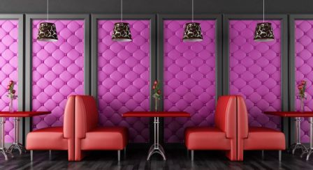 Украшение стен в кафе, ресторанах мягкими панелями